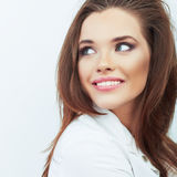 Smiling woman beautiful face portrait. Royalty Free Stock Photos