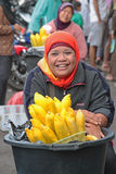 Smiling woman on Bedugul Market in Bali Stock Photos