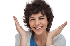 Smiling woman being surprised Royalty Free Stock Photos
