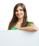 Smiling woman with big blank board Royalty Free Stock Images