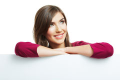 Smiling woman with big blank board Stock Images