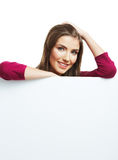 Smiling woman with big blank board Royalty Free Stock Photo