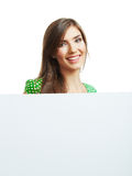 Smiling woman with big blank board Royalty Free Stock Photography