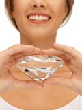 Smiling woman with big diamond Stock Photo