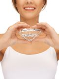 Smiling woman with big diamond Royalty Free Stock Photo
