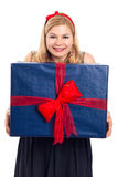 Smiling woman with big gift Royalty Free Stock Photography