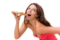 Smiling woman with big pizza isolated on a white Royalty Free Stock Images