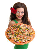 Smiling woman with big pizza isolated on a white Royalty Free Stock Image