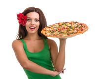 Smiling woman with big pizza isolated on a white Stock Photography
