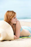 Smiling Woman In Bikini At Beach Stock Photography