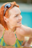 Smiling woman in bikini in pool Royalty Free Stock Photo