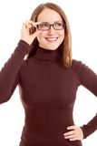 Smiling woman with black glasses Royalty Free Stock Image