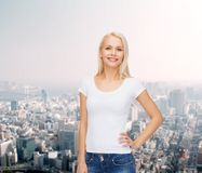 Smiling woman in blank white t-shirt Stock Image