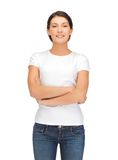 Smiling woman in blank white t-shirt Stock Photo