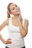 Smiling woman in blank white t-shirt Royalty Free Stock Photo