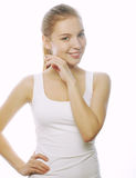 Smiling woman in blank white t-shirt Royalty Free Stock Image