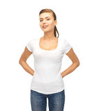Smiling woman in blank white t-shirt Royalty Free Stock Images