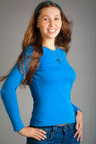 Smiling woman in blue royalty free stock images