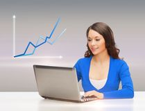 Smiling woman in blue clothes with laptop computer Stock Photography