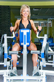 Smiling woman bodybuilder Royalty Free Stock Photography