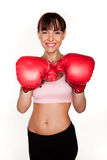 Smiling Woman In Boxing Gloves Stock Photography