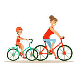 Smiling woman and boy riding bikes, mom and son having good time together colorful characters. Vector Illustration on a white background Stock Photo