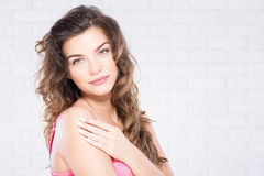 Smiling  woman in a bra Royalty Free Stock Photography