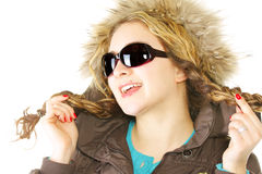 Smiling woman with braids in sunglasses Stock Photo