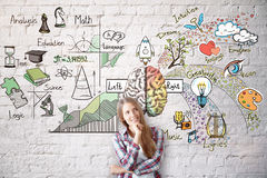 Smiling woman with brain sketch. Smiling young woman on brick wall background with abstract brain sketch. Left and right hemispheres concept stock images
