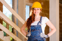 Smiling Woman Bricklayer Royalty Free Stock Photos