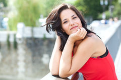 Smiling woman in a bridge Royalty Free Stock Photography
