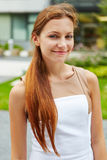 Smiling woman with brunette hair Stock Photography