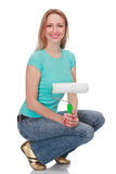 Smiling woman with a brush Royalty Free Stock Image