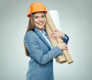 Smiling woman builder architect wearing business suit Stock Photography