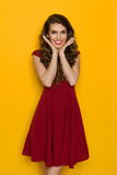 Smiling Woman In Burgundy Dress Holds Head In Hands Royalty Free Stock Images