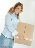 Smiling woman with cardboard box Stock Photography