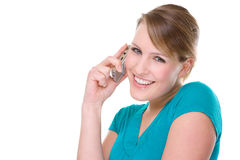 Smiling woman with cell Royalty Free Stock Photo