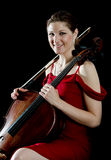Smiling woman with cello Stock Photo