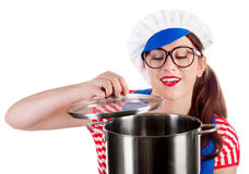 Smiling woman chef cook holding pot. Isolated on a white background Royalty Free Stock Photo