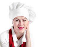 Smiling woman chef isolated on a white background Stock Image