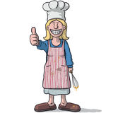 Smiling woman chef with thumb up Royalty Free Stock Images