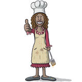 Smiling woman chef with thumb up Stock Photography
