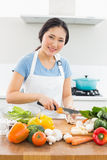 Smiling woman chopping vegetables in kitchen Stock Photos
