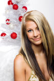 Smiling woman on christmas Royalty Free Stock Photos