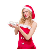 Smiling woman with Christmas decorations Stock Photography