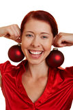 Smiling woman with christmas tree Stock Image