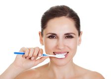 Smiling woman cleaning her teeth royalty free stock photo