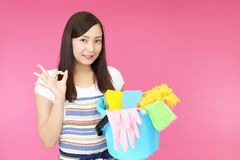 Asian housewife in apron stock photo