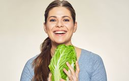 Smiling woman close up face portrait with cabbage Stock Photos