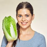 Smiling woman close up face portrait with cabbage Royalty Free Stock Image
